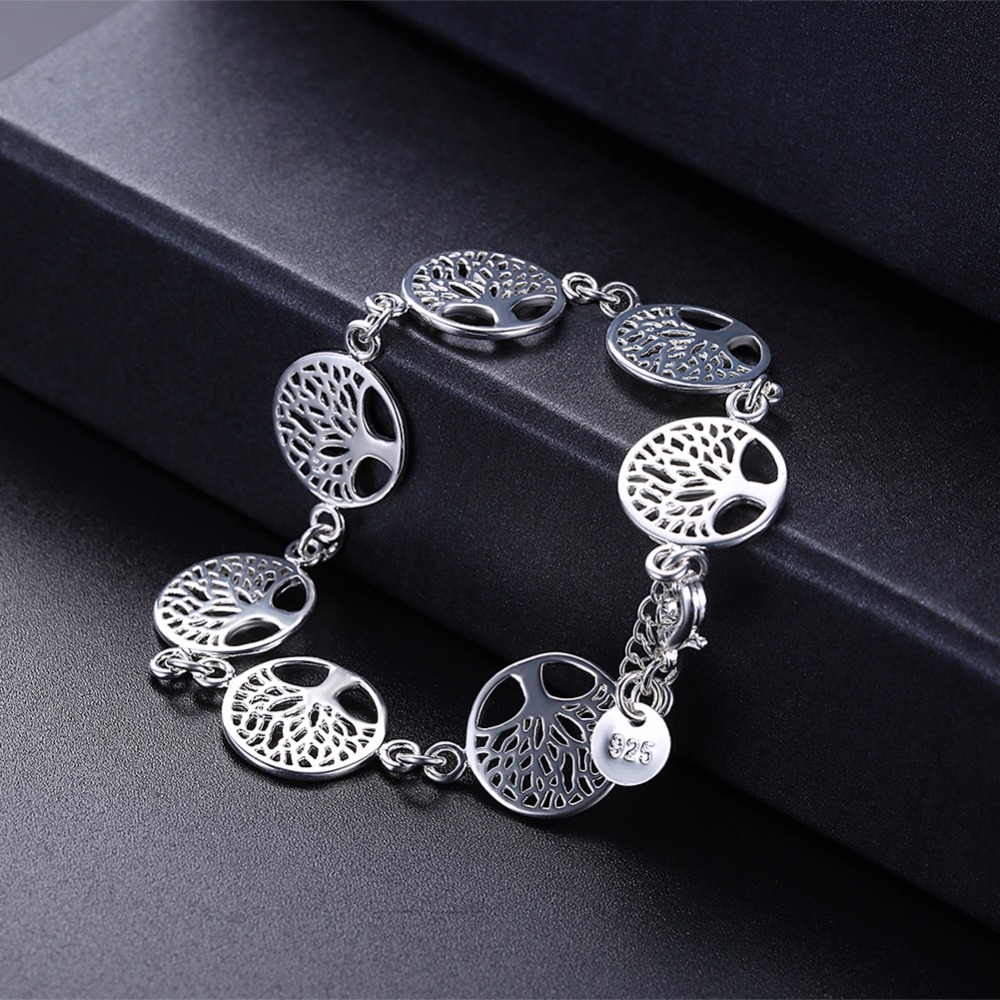 7pcs Tree of Life Charm Bracelet Silver 925 Jewelry Silver Plated Cute Hot Fancy Popular Bracelets Bangles Religion Totem