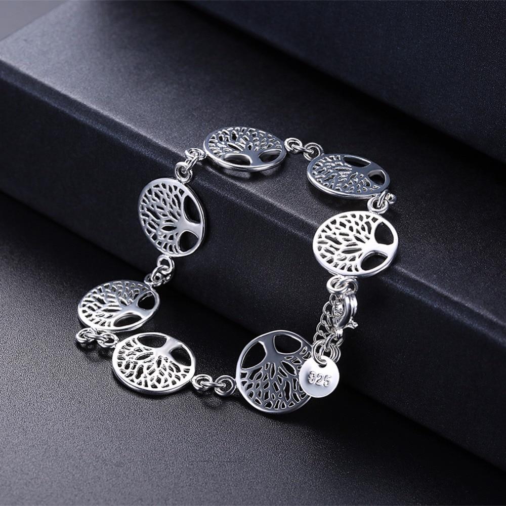 7pcs Tree of Life Charm Bracelet Silver 925 Jewelry Silver Plated Cute Hot Fancy Popular Bracelets Bangles Religion Totem