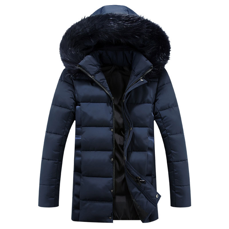 Mens Winter Jacket Coat With Fur Collar Coat Men Parka Hooded Long Sleeve Slim Mid-Long Down Cotton Padded Coat Big Size M-5XL