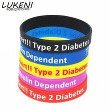 LUKENI 1PC New Diabetic Bracelets Medical Alert Type 2 Diabetes Insulin Dependent Silicone Wristband Armband Nurse Bangles SH060
