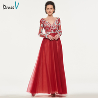 Dressv Rust Red Mother Of The Bride Dress V Neck A Line Long Sleeves Tulle Appliques