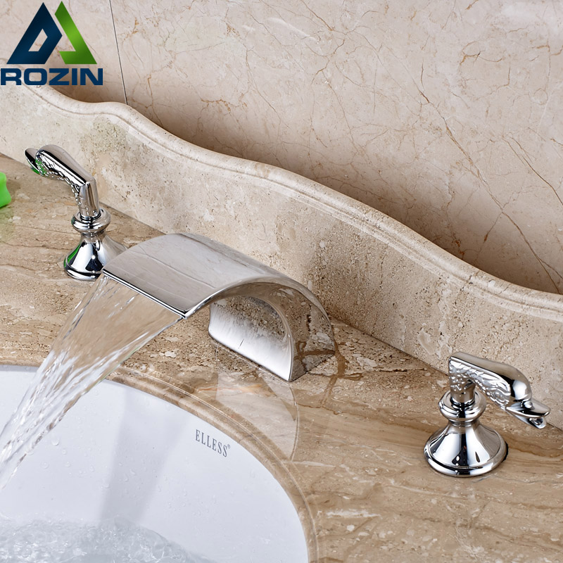 Deck Mount Waterfall Bath Spout Basin Faucet Dual Handle Chrome Brass Mixer Tap for Bathroom