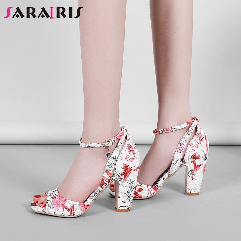 SARAIRIS Brand New Ankle Strap Print Flower Square High Heels Shoes Woman Casual Party Sexy Summer Evening Sandals Women 2019SARAIRIS Brand New Ankle Strap Print Flower Square High Heels Shoes Woman Casual Party Sexy Summer Evening Sandals Women 2019