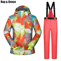 RAY GRACE Ski Suit Women's Jacket Winter Thermal Outdoor Jacket Pants Suit Snow Clothing Waterproof Windproof Clothes Female
