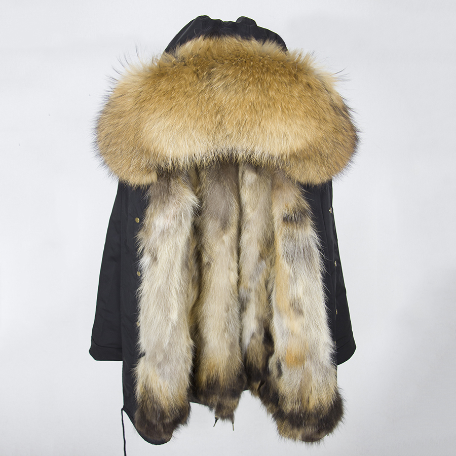 2019 Real Fur Coat Winter Jacket Women Long Parka Waterproof Big Natural Raccoon Fur Collar Hood Thick Warm Real Fox Fur Liner 89