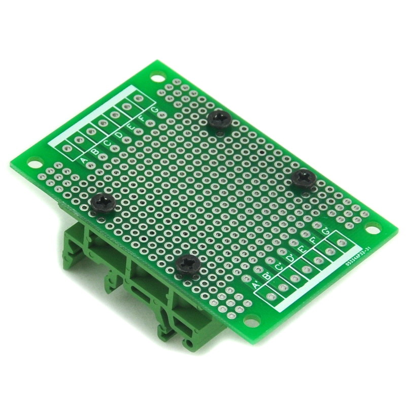 Prototype PCB With DIN Rail Adapter, 47.4 X 72mm, For DIN Rail Projects DIY