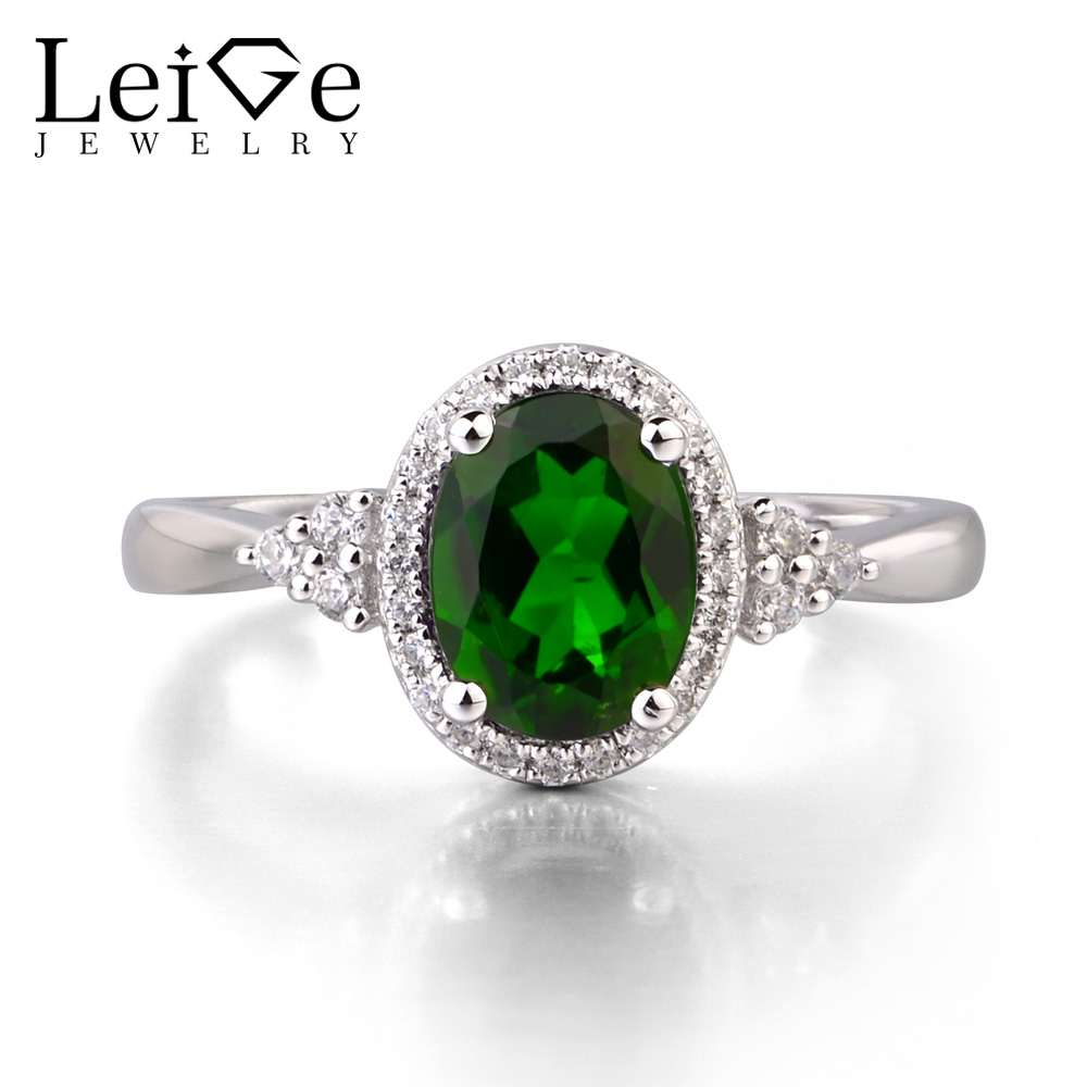 Leige Jewelry Natural Diopside 925 Sterling Silver Ring Fine Green Gemstone Oval Cut Engagement Promise Ring Gifts for Women