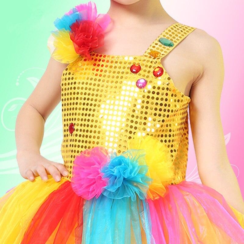c379156a8959 Children Girl  s Peacock Dance Dress Shining Sequins Rainbow Hem ...