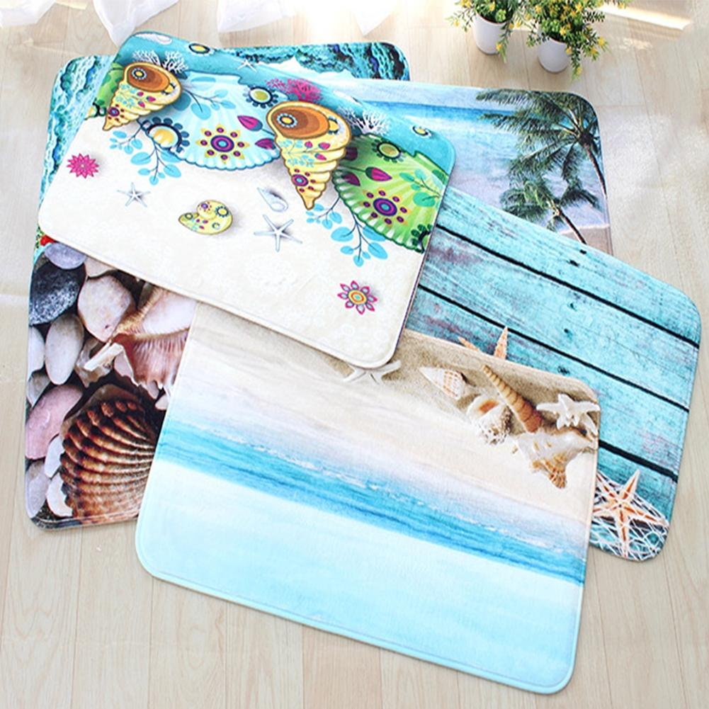 LanLan 3Pcs/Set Cute Creative 3D Sea Ocean Fish Shell Animals Bathroom Rug Toilet Lid Cover Mat Set
