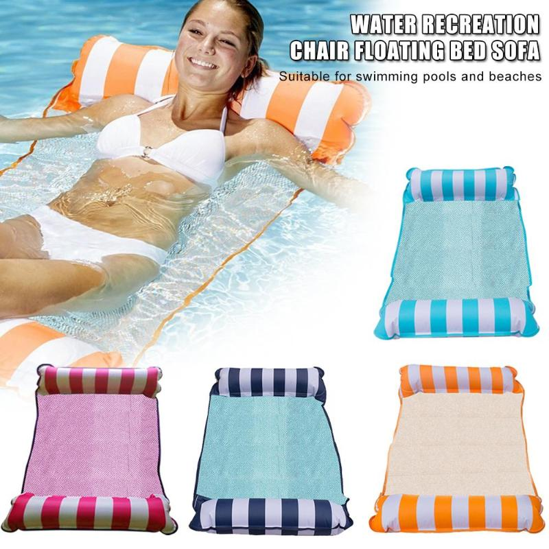 Portable Inflatable Pool Float Bed Foldable Back Floating Row Summer Air Water Hammock Lounge Bed For Swimming