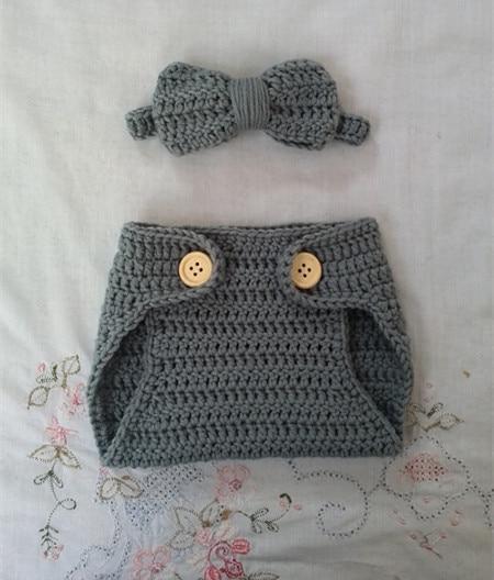 VERKOOP haak Baby strikje en luier Cover set Pasgeboren foto Prop - Babykleding