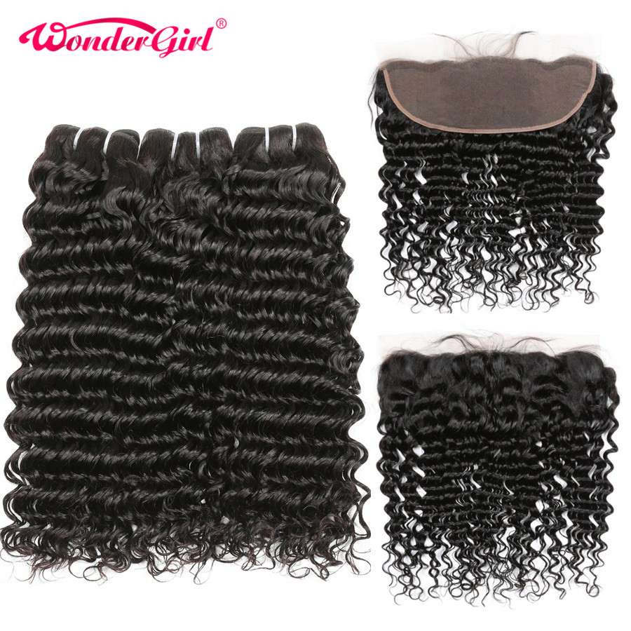 13x4 Ear To Ear Lace Frontal Closure With Bundles 4Pcs Lot Deep Wave Human Hair 3