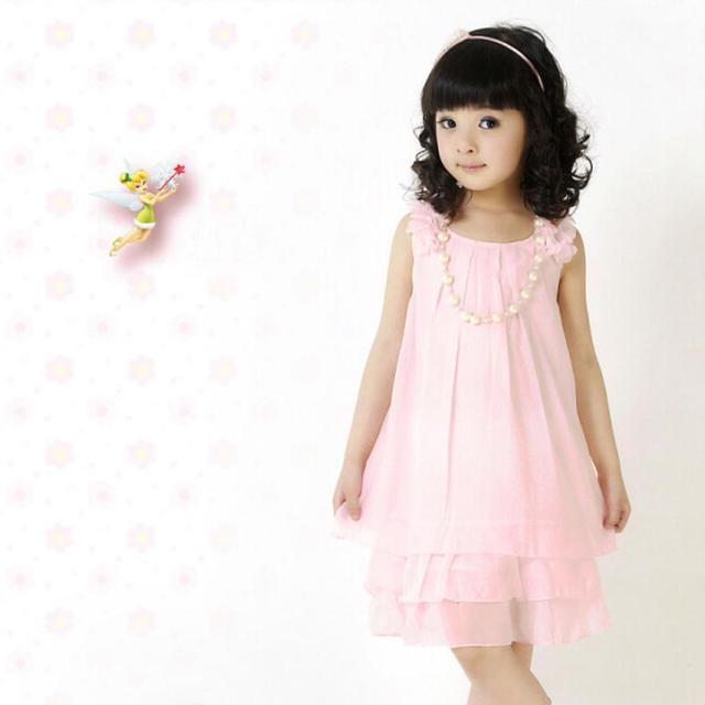 2015 new 1PC Chiffon Lace Lovely dress Kids Casual holiday and party   Sleeveless Necklace Girl Princess  Childrens Dresses