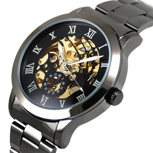 2019 Luxury Men's Roman Numerals Tungsten Steel Mechanical Skeleton Wrist Watch Hot Relojes Men Mechanical Watch Men Watch Gift