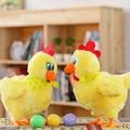 1 unid caliente venta interesante cantar y bailar baile Frantically puesta de huevos de gallinas bajo eléctrico juguete de felpa muñeca linda para los niños gran regalo