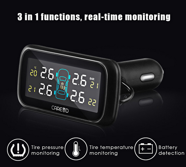 Car TPMS PSI BAR Diagnostic Tool Wide Angle Screen Real-time Monitoring U903 4 Internal Sensors Pressure Monitoring System