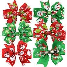 6 Pcs Christmas Decoration Baby Girls Flower Bowknot Headbands Hair Clips
