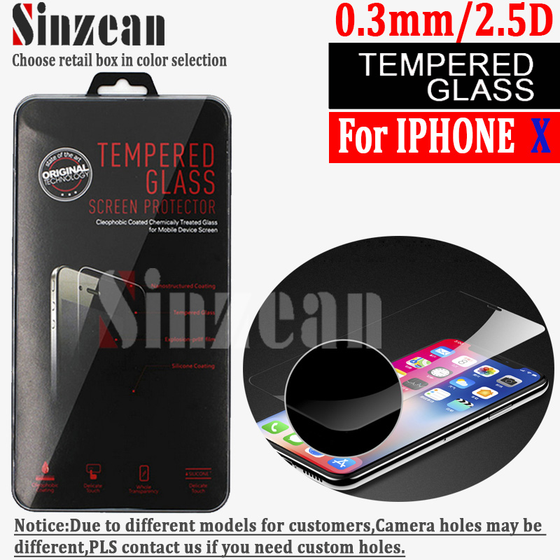 Sinzean 50PCS For iphone X XS XR Tempered Glass screen protector 0 3mm 2 5D with