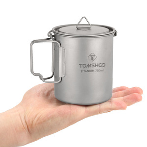 Image 5 - TOMSHOO 750ml Ultralight titanyum fincan tencere açık taşınabilir su bardağı kupa sofra tencere titanyum Pot kamp piknik