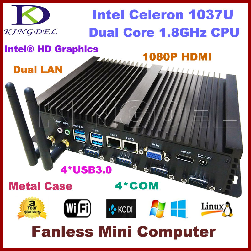 Free shipping Barebone Industrial Computer Fanless Mini PC Intel Celeron 1037U CPU 2*1000M LAN 4*COM 2*USB 3.0 300M WiFi HDMI