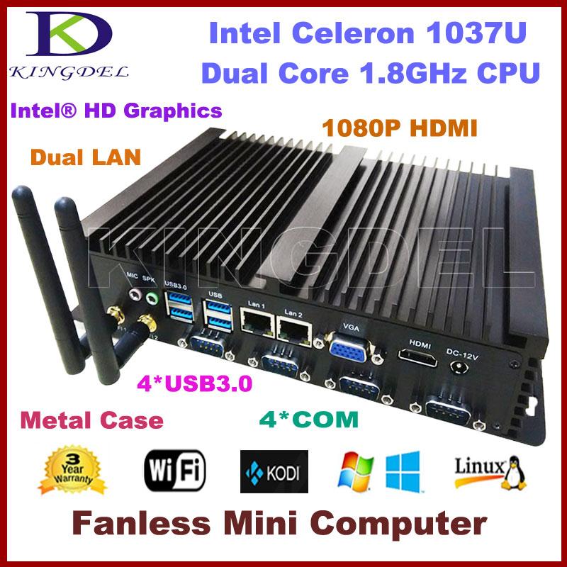 Free Shipping Barebone Industrial Computer Fanless Mini PC Intel Celeron 1037U CPU 2*1000M LAN 4*COM 2*USB 3.0 300M WiFi HDMI