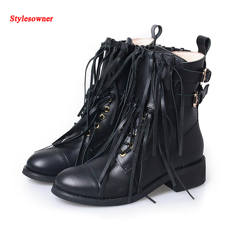 Stylesowner Fringe Mid-calf Women Boots Belt Buckle Round Toe Lace Up Black Leather Boots Side Zipper Folk Style Martin Bootie zippers double buckle platform mid calf boots