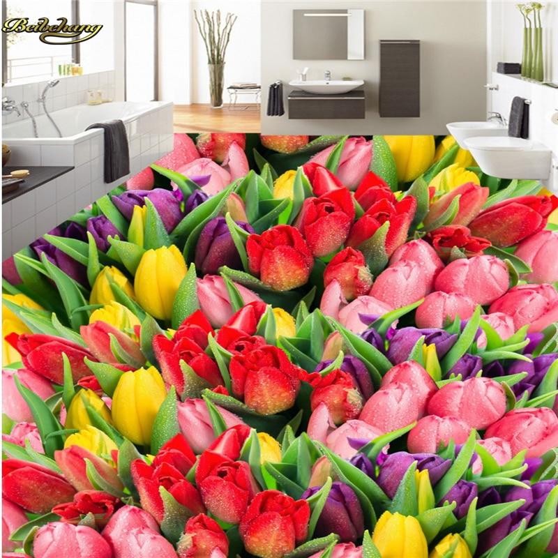 beibehang Custom photo 3d floor painting wallpaper beautiful tulip flowers flowers thickening wearable PVC floor papel de parede beibehang custom wallpaper 3d beautiful