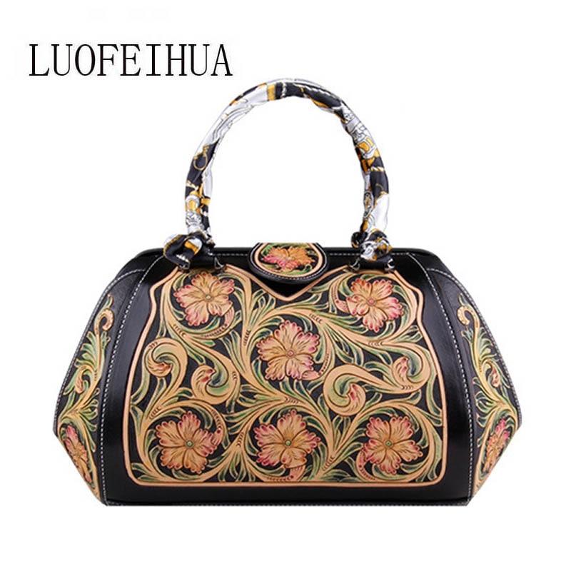 LUOFEIHUA  2019 new ladies hand-carved leather handbag Original retro large capacity designer bag Boston bag