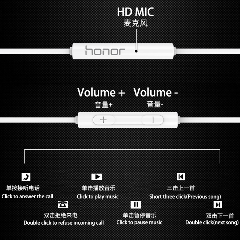Original HUAWEI Honor AM115 In ear Earphone Mic Remote control For HUAWEI P7 P8 P9 P10 plus mate 7 8 9 lite Android phone in Phone Earphones Headphones from Consumer Electronics