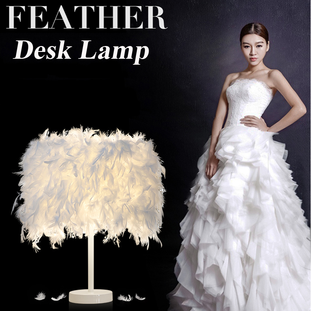 Bedroom With Led Bulb Plume Plumage Stylish Table Light Ball Desk Lamp Luxury Decoration Home Light AC 220V US Plug 7 Color itimo wireless led bulb with remote control dimmable 220v e27 home indoor lighting night light us plug bedroom light lamp