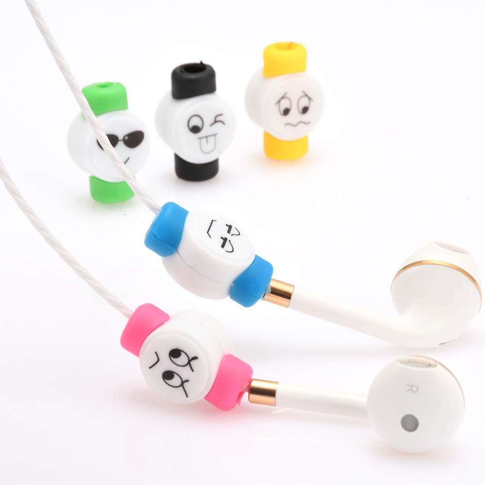 Earphone Accessories 2pcs/lot Cute Cartoon Expression Cable Protection Cover Earphone Cable Protector For Iphone5s/6/6s/6plus