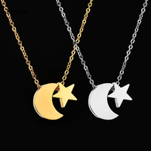 Eleple Simple Star Moon Stainless Steel Necklaces Female Fashion Birthday Party Chain Necklace Gifts Jewelry Wholesale S-N647