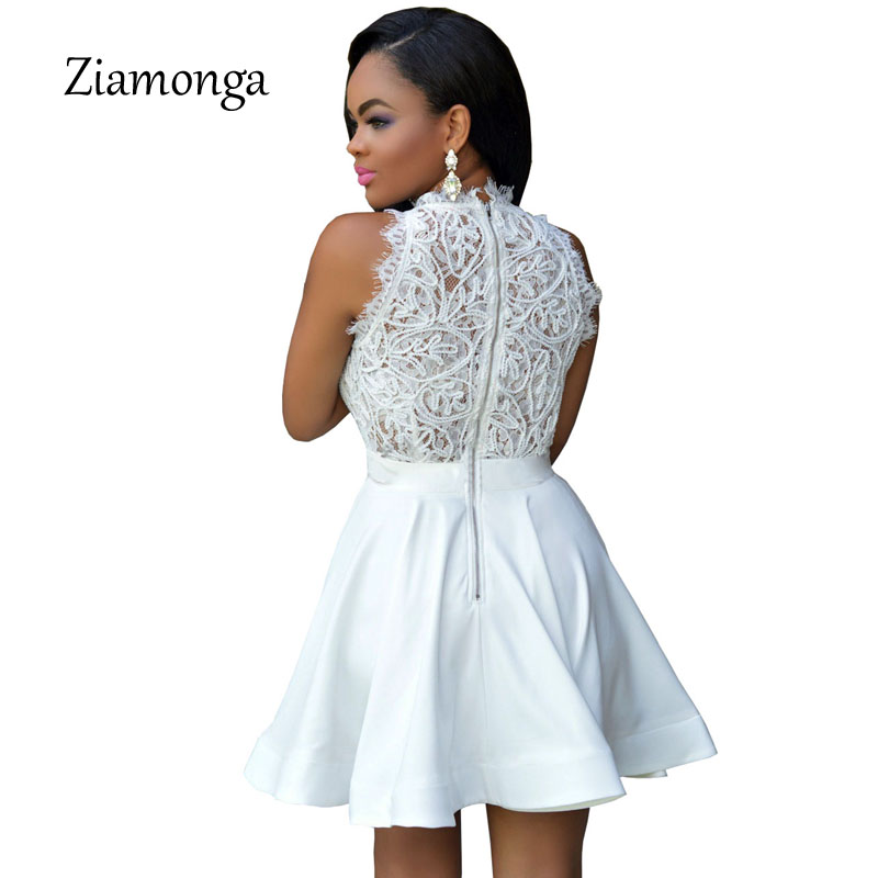 fa57cbeb3b44a US $12.98 15% OFF|Elegant Black White lace Spring Summer Dress Sleeveless  Turtleneck Women Dresses 2017 Short Party Casual Skater Dress C2797-in ...