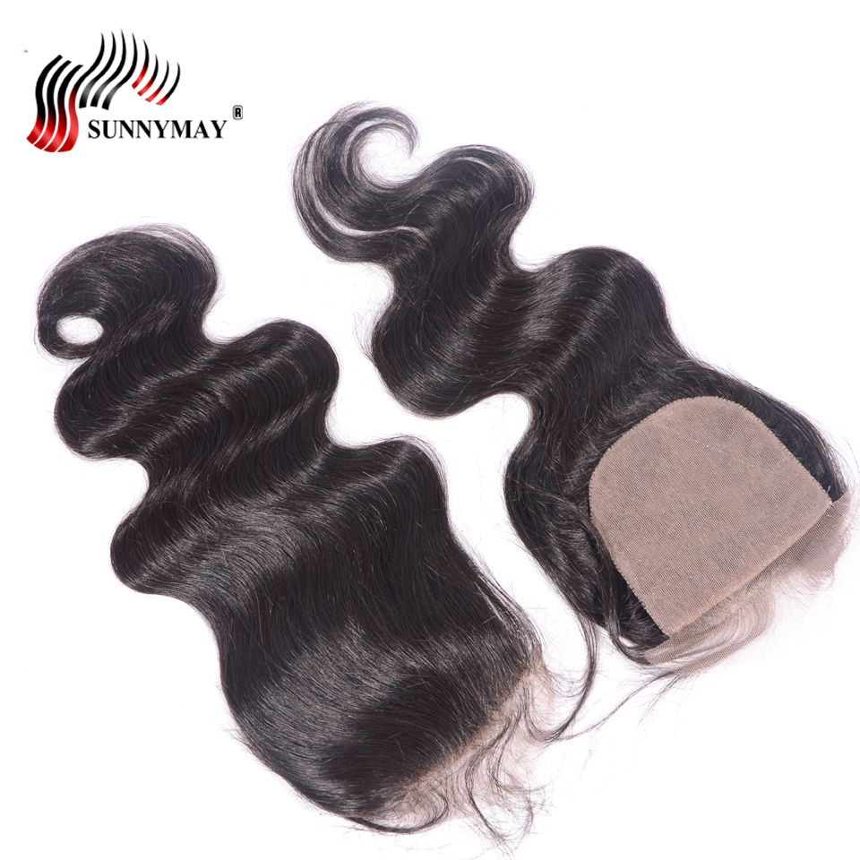 Sunnymay 5x5 Silk Base Lace Closure Body Wave Brazilian Virgin Hair Silk Base Closure With Baby Hair Bleached Knots
