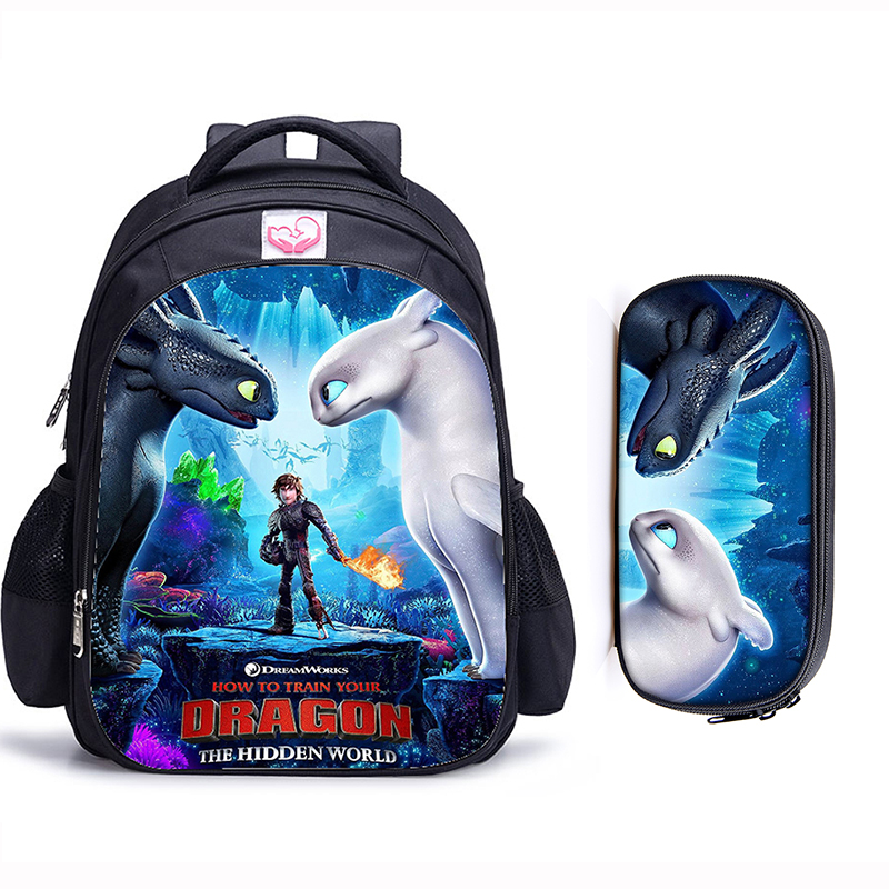 Mochila Orthopedic-Backpack Catoon-Bags Train Dragon School Girls Kids 3 How Your 16inch