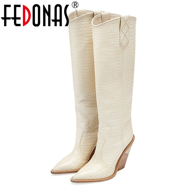 FEDONAS Sexy Women Embossed Microfiber Leather High Boots Western Cowboy Autumn Winter Boots Chunky High Heels