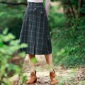 Women Skirt Wool Vintage Stretch High Waist Plaid Skater Flared Pleated Long Skirt Lady Skirts Womens Skirts Falda Saia