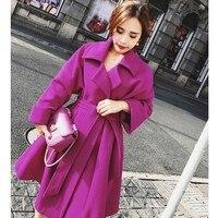 A line Style Winter Wool Women Coat Warm With Belt Woolen Jacket Womens Cashmere Coats European Fashionable Outerwear