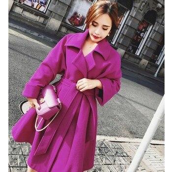 Yeni ince yün ceket, casaco feminino kadın ceket sıcak kemer, kaşmir ceket, dış giyim, rahat sonbahar ve kış zarif dışarı