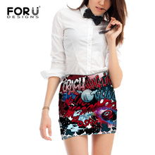 FORUDESIGNS Harajuku Stylish 2017 Fashion Graffiti Printed Skirt for Women High Waist Short Female Skirts Night Club Sexy Skirts