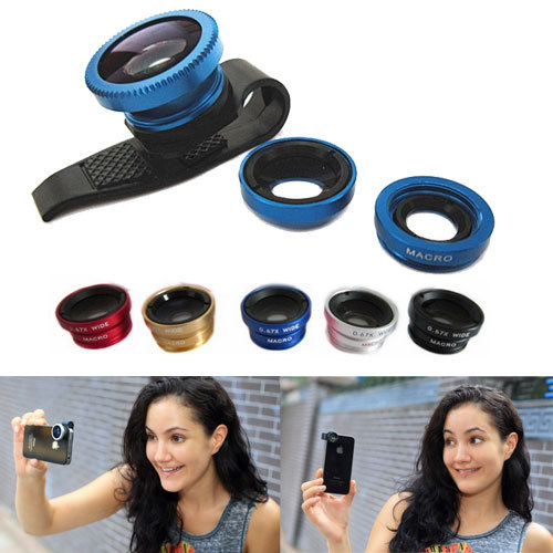Universal 3 In 1 clip-on fish eye Macro Wide Angle Mobile Phone Lenses lente olho de peixe Camera for iPhone 4 5 5S 6 6S Plus