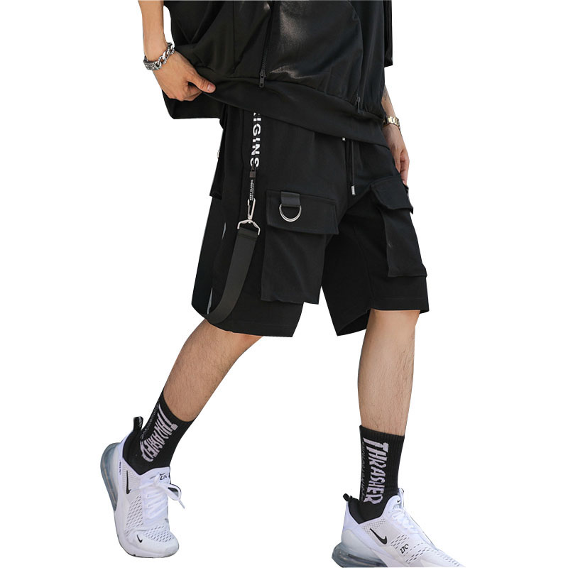 2019 New Summer Multi-pocket Men Cargo Shorts Elastic Waist Street Punk Hip Hop Casual Short Joggers Drop Shipping LBZ59