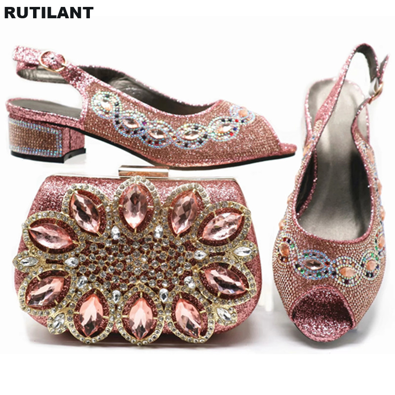 Boda plata Cristal Último Y púrpura Zapato Bajo Tacón Zapatos Nigerianas Mujeres De champagne Elegante Bombas La Para Las rojo Italiano Bolsa Mujer Azul n0A0wBr