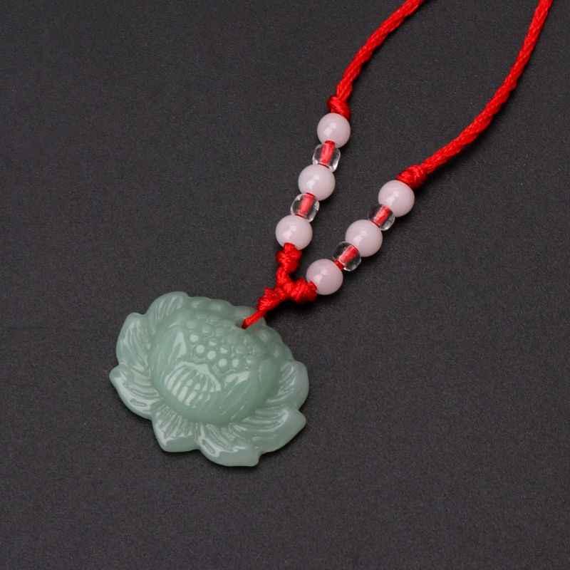 หินสีเขียวธรรมชาติ Lotus จี้สร้อยคอแฟชั่นเครื่องประดับ Lucky Charm