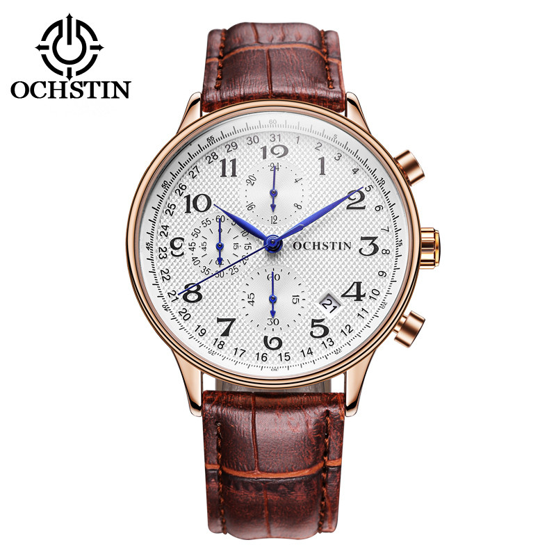 OCHSTIN Luxury Brand Watches Men Sex Pin Läder Military Sport Quartz Watch klocka Man Fashion Casual Business Armbandsur