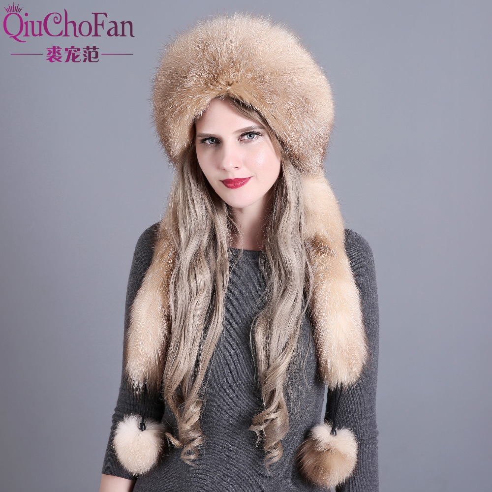2017 winter hat beanies skullies women cap warm fur pompom Thick Natural Fox fur cap real fur hat women knitted hat female cap women s cap knitted mink fur hat for women winter warm fashion leather fur headdress beanies russian mom ladies caps