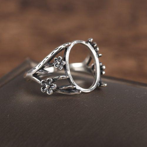 Art Nouveau Vintage 925 Silver Flower Ring Semi Mount 12x15mm Oval Cabochon Amber Agate Opal Fine Jewelry Setting DIY Stone серьги art silver art silver ar004dwzmh30