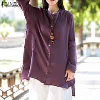 ZANZEA Women 2017 Autumn Cotton Blouses Casual Loose Long Sleeve Solid Shirt Retro Stand Collar Plus