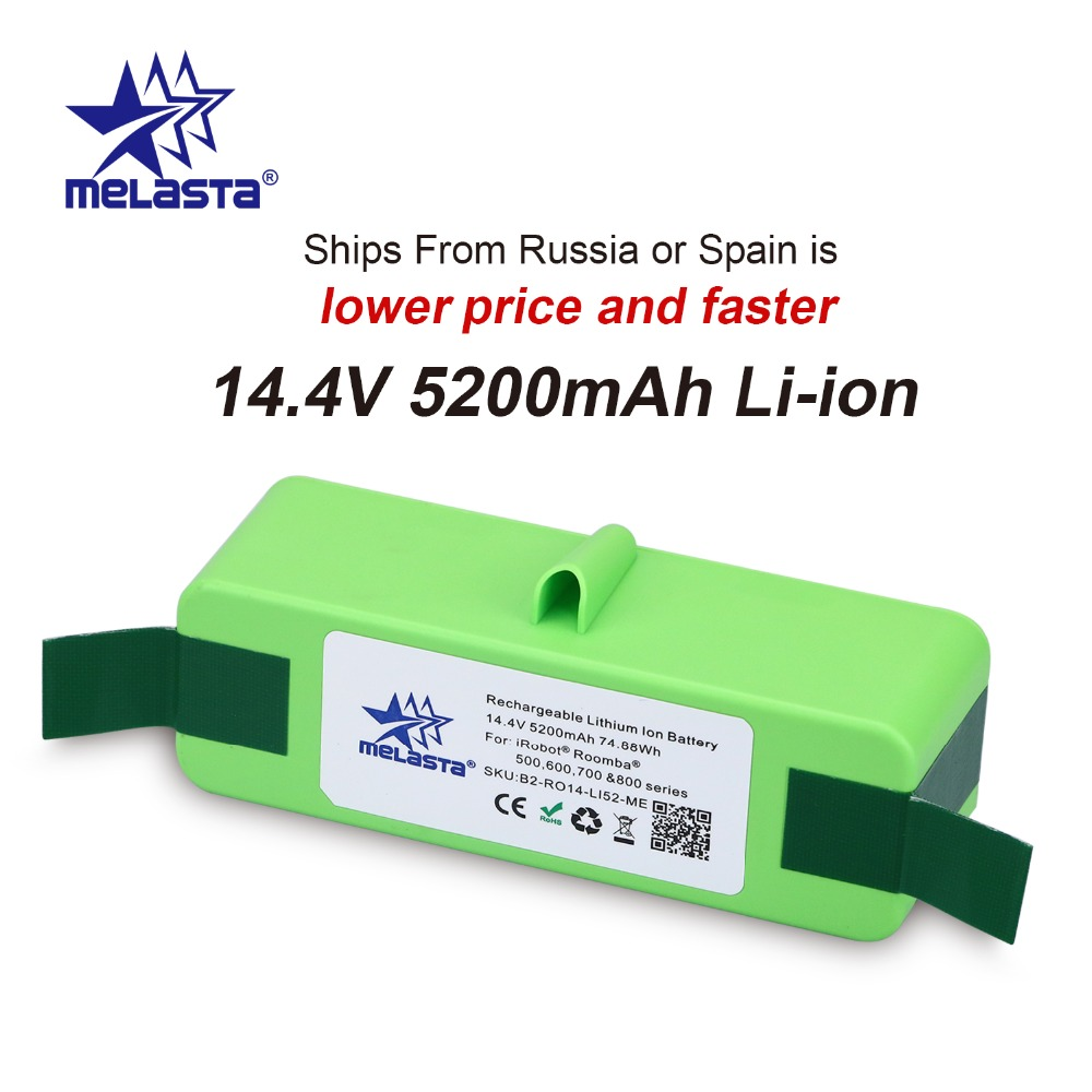 5.2Ah 14.4V Li-ion Battery with Brand Cells for iRobot Roomba 500 600 700 800 980Series 510 530 550 560 650 770 780 870 880 R3