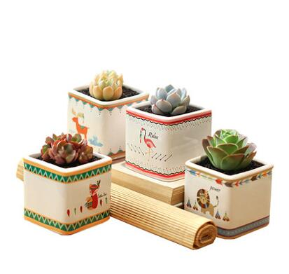 Household Ceramic Mini Flowerpots Simple Cute Cartoon Animals Pattern Square Succulents Flower Pots Desktop Decoration L461